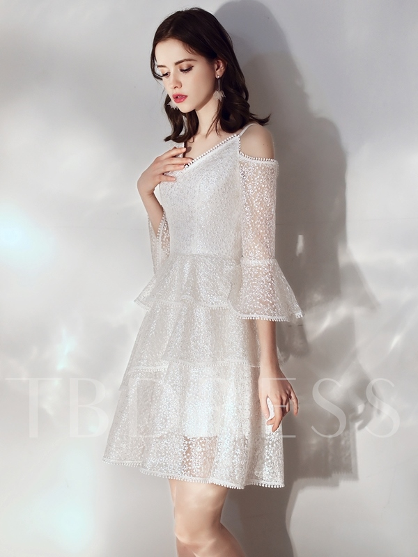 Short Lace 3/4 Length Sleeves V-Neck Homecoming Dress 2019