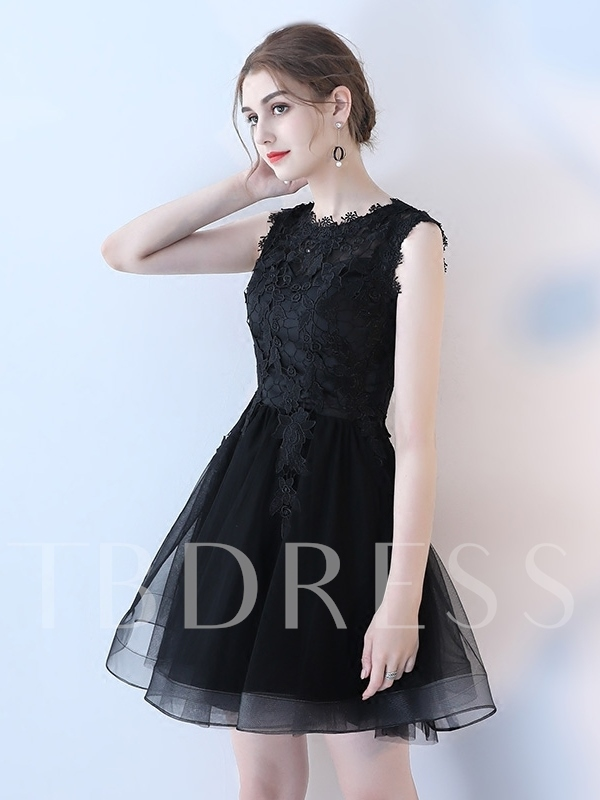 Sleeveless A-Line Scoop Lace Homecoming Dress 2019