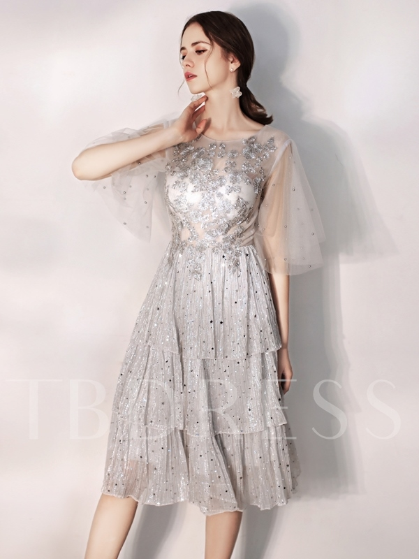 Half Sleeves Sequins Knee-Length A-Line Homecoming Dress 2019