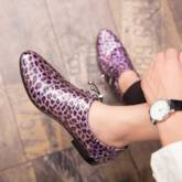 Leopard Patent Leather Pointed Toe Mne's Prom Shoes
