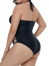 Plus Size Sexy Plain Hollow One Piece Women's Swimwear