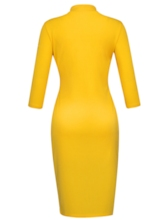 Yellow Turtle Neck Pullover Women's Pencil Dress