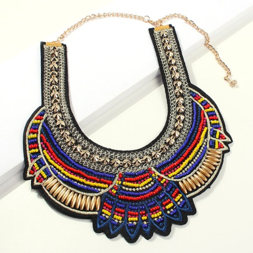 Woven Bohemian Color Block Female Necklaces