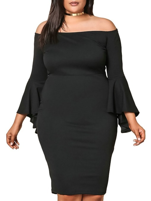 Plus Size Three-Quarter Sleeve Off Shoulder Pullover Women's Dress