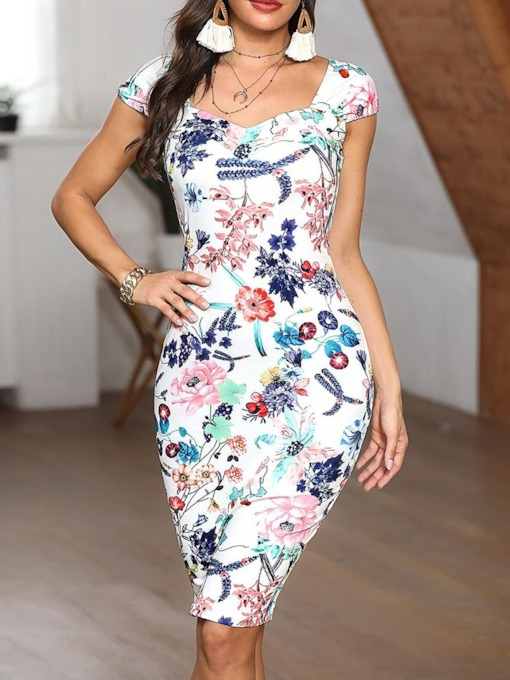 Print Short Sleeve Square Neck Women's Bodycon Dress