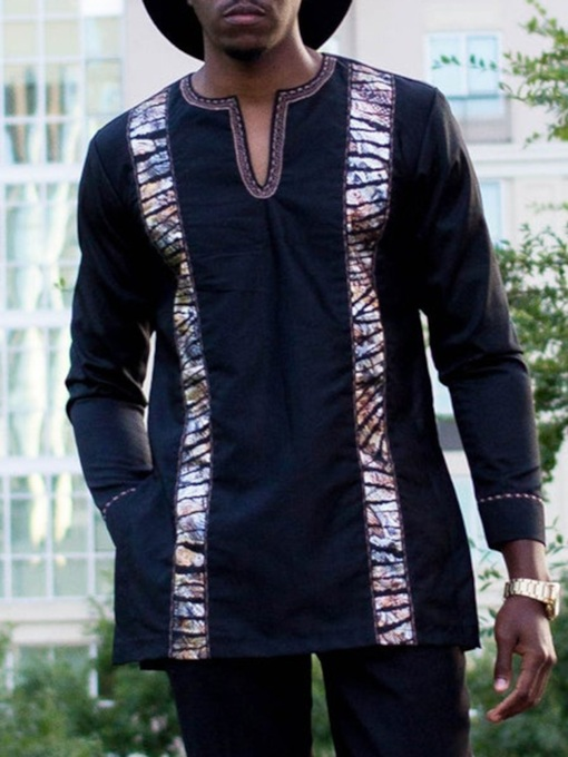 Color Block African Fashion 3/4 Length Sleeves Print Loose Men's T-shirt