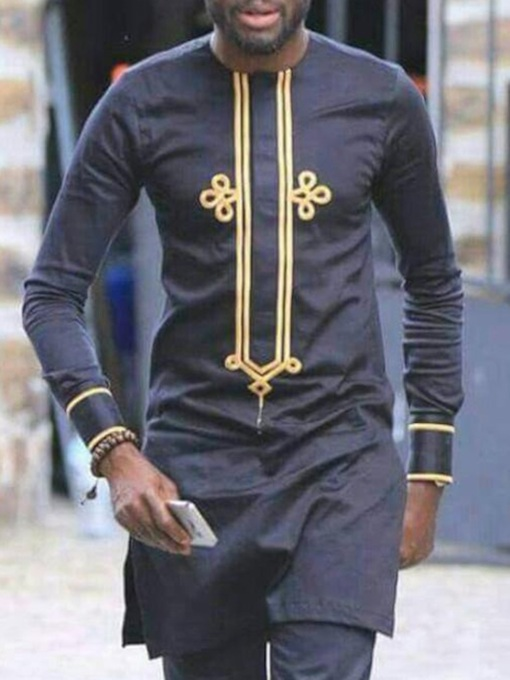 African Fashion Round Neck Color Block Print Long Sleeve Men's T-shirt