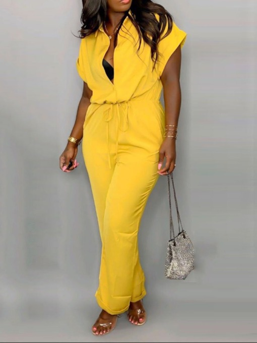 Plain Casual Full Length Lace-Up Straight Women's Jumpsuit