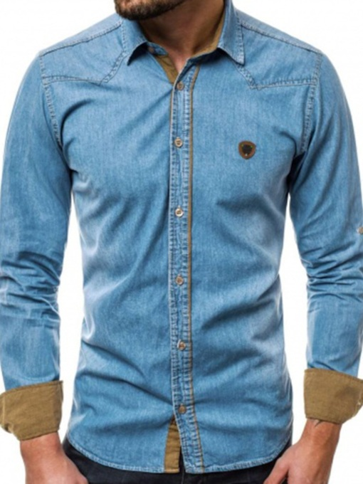 Casual Micro-Elastic Button Denim Shirt Color Block Lapel Slim Long Sleeves Men's Shirt