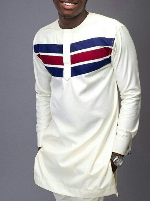 African Fashion Color Block Striped Print Round Neck Loose Men's T-shirt