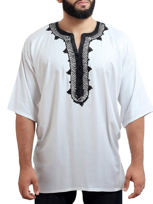 Embroidered Print Casual 3/4 Length Sleeves African Fashion Color Block Loose Men's T-shirt