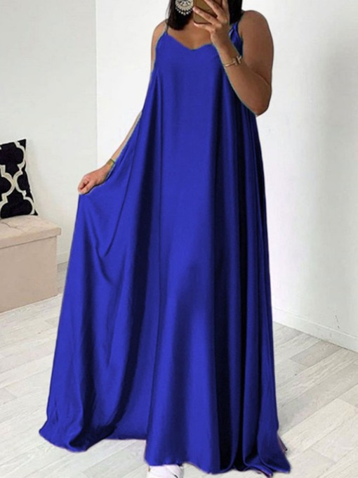 A-Line Sleeveless Spaghetti Strap Women's Maxi Dress