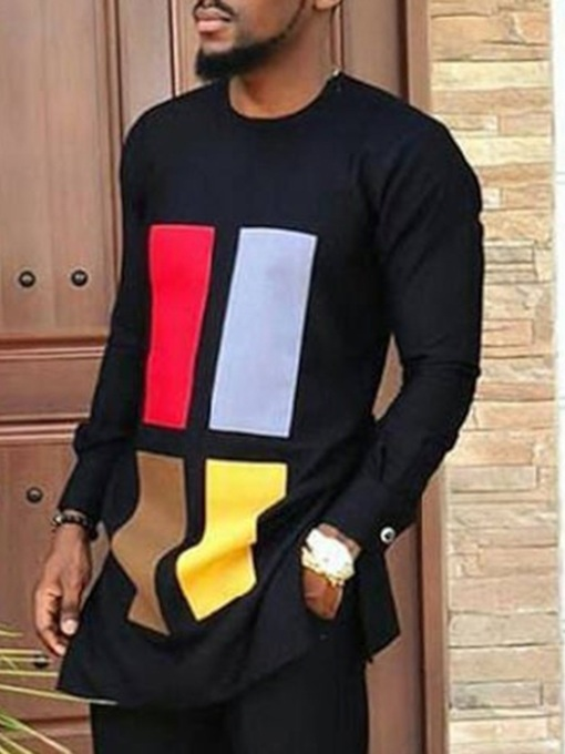 Mid-Length Print Color Block Round Neck African Fashion Loose Men's T-shirt
