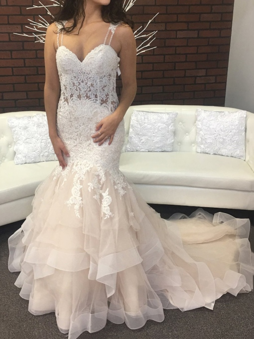 Beading Straps Button Appliques Mermaid Wedding Dress 2019