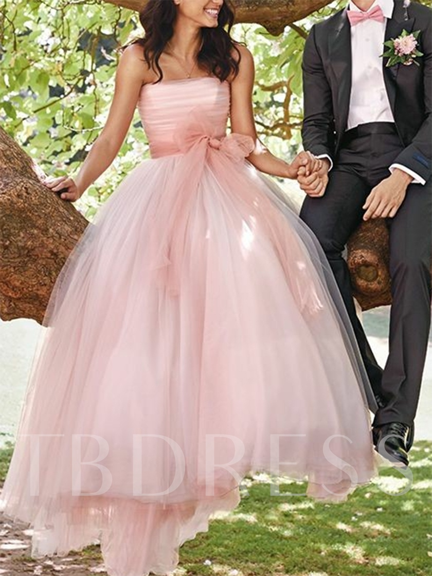 Strapless Bowknot Sashes Pink Wedding Dress 2019