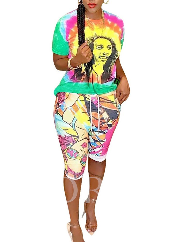 Casual T-Shirt Print Cartoon Round Neck Women's Two Piece Sets