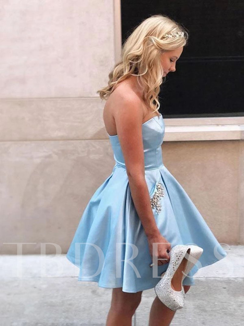 A-Line Short Strapless Pockets Homecoming Dress 2019