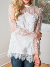 Stand Collar Flare Sleeve Lace Plain Long Sleeve Women's Blouse