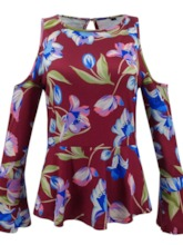 Print Color Block Flare Sleeve Long Sleeve Women's Blouse