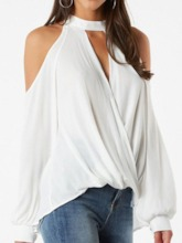 Hollow Off Shoulder Plain Mid-Length Loose Women's Blouse