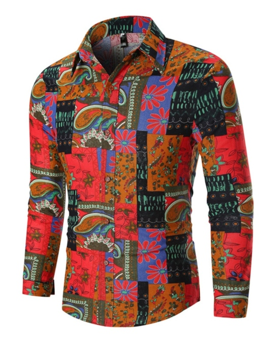 African Fashion Color Block Button Casual Lapel Long Sleeves Slim Men's Shirt