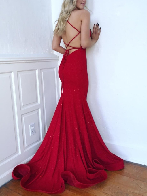 Spaghetti Straps Mermaid Sequins Formal Dress 2019