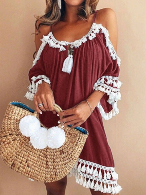 Tassel Three-Quarter Sleeve Hollow Women's Day Dress