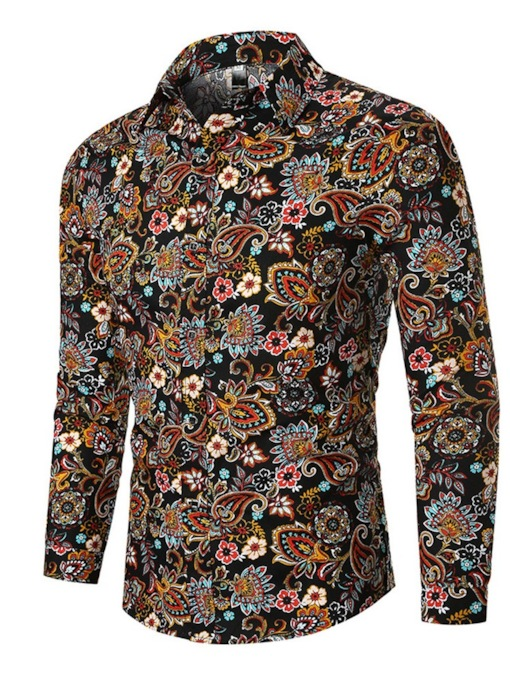 3D Print Floral Print Long Sleeve Shirt Lapel Casual Fall Men's Shirt