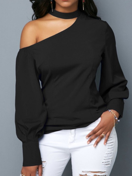 Lantern Sleeve Plain Long Sleeve Standard Women's Blouse