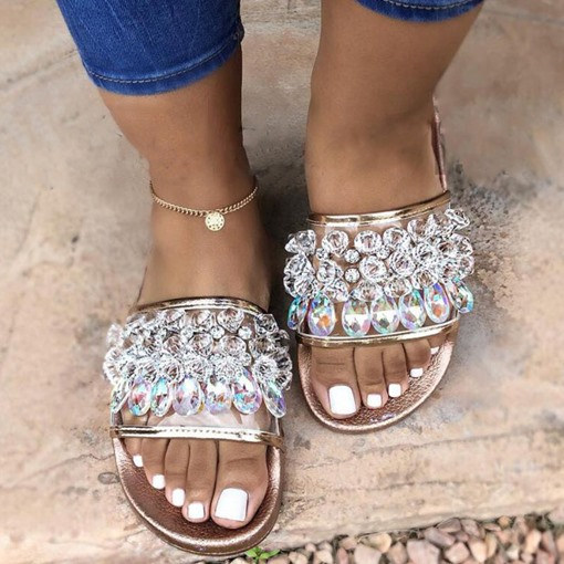 Rhinestone Flat Slip-On Women's Slippers