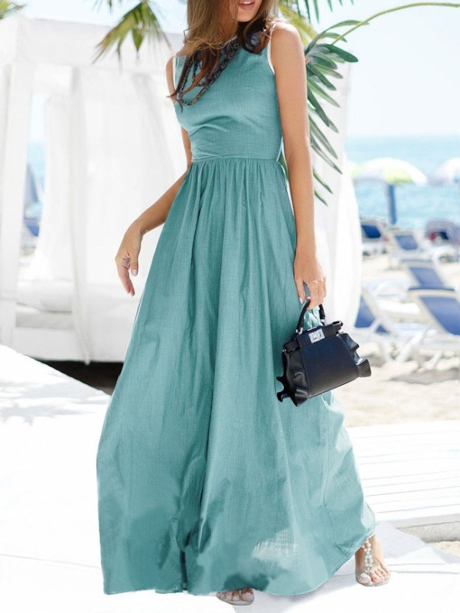 Round Neck Floor-Length Sleeveless Pleated Women's Maxi Dress
