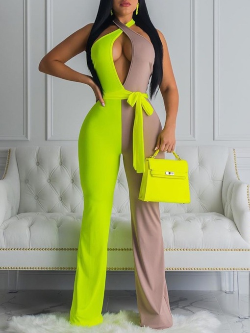 Full Length Backless Color Block Sexy High Waist Women's Jumpsuit