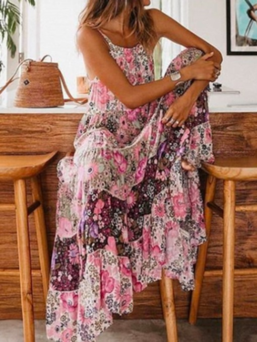 Floral Maxi Dress Print Ankle-Length Scoop Sleeveless Floral Women's Dress