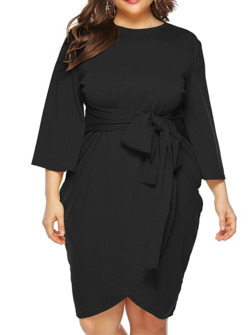 Plus Size Lace-Up Three-Quarter Sleeve Round Neck Plain Women's Dress