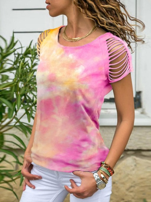 Short Sleeve Round Neck Standard Color Block Summer Women's T-Shirt
