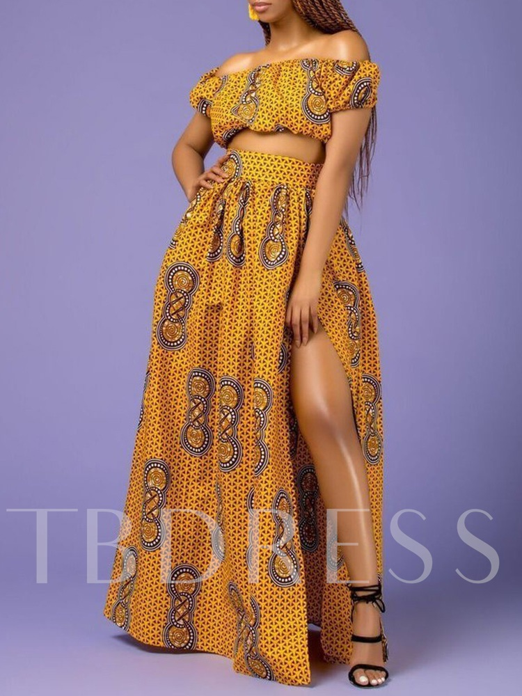 Print Skirt Western A-Line Women's Two Piece Sets