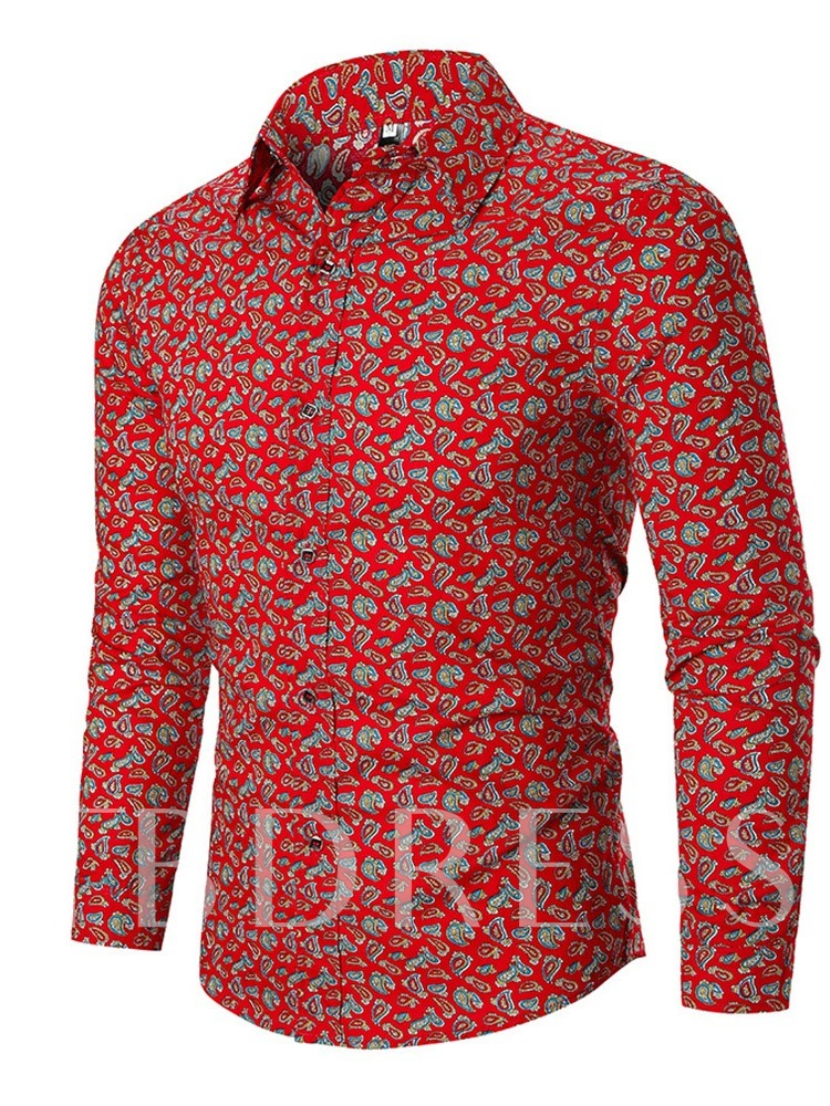 Casual Long Sleeves Lapel Color Block Single-Breasted Button Fall Men's Shirt