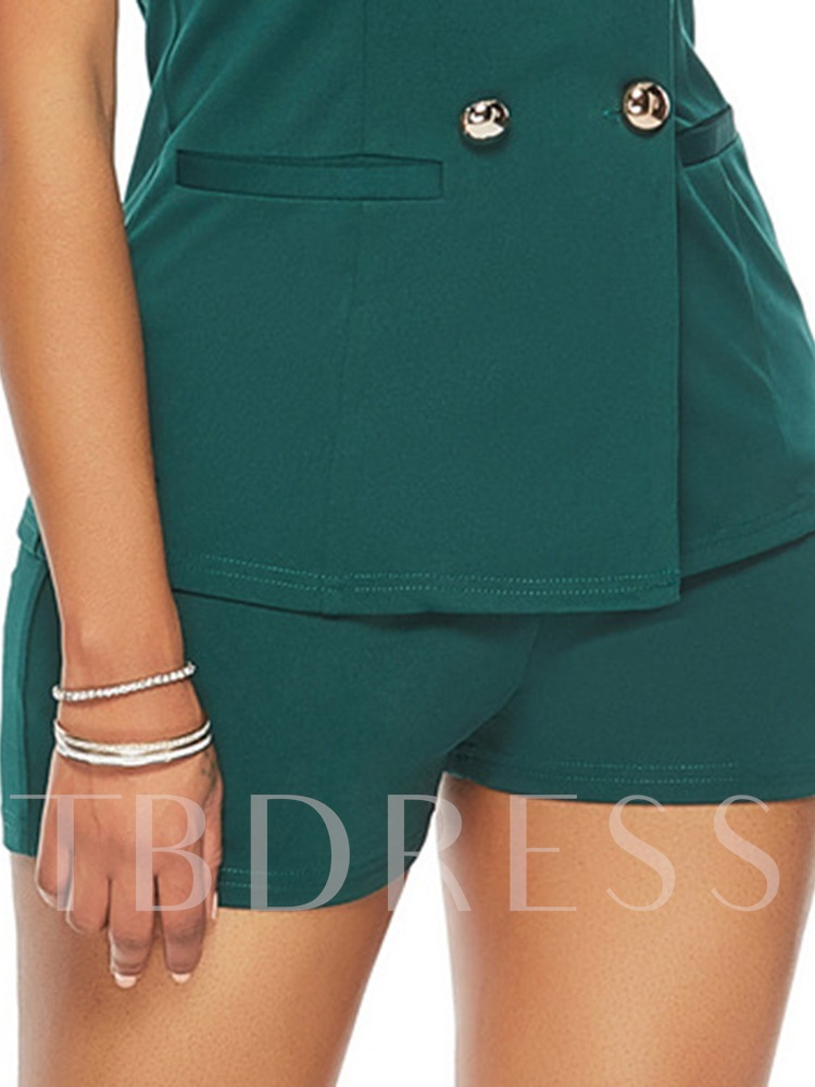 Fashion Plain Button Shorts Double-Breasted Women's Two Piece Sets