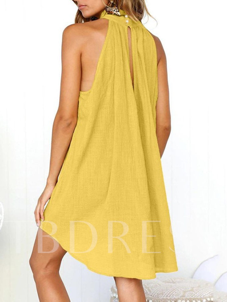 Backless Stand Collar Sleeveless Pullover Women's Day Dress