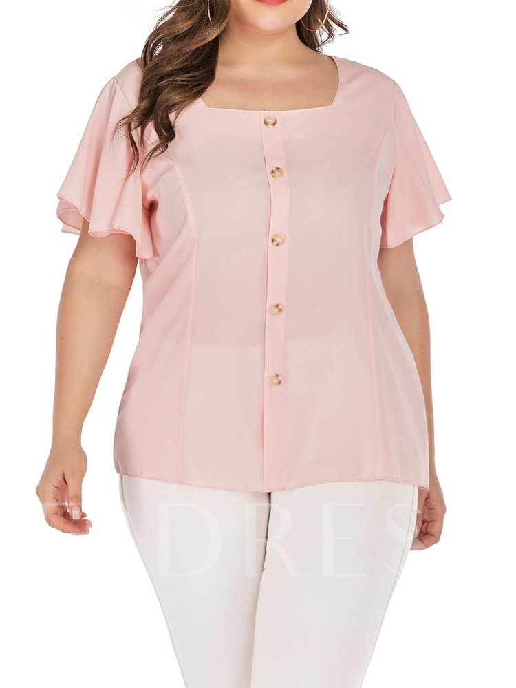 Plus Size Plain Button Square Neck Short Sleeve Women's Blouse