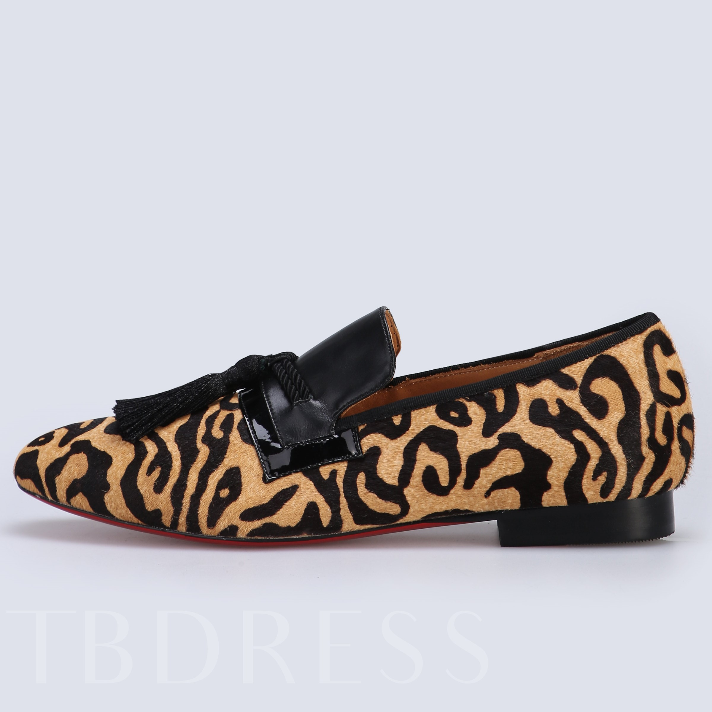 Patchwork Leopard Pattern Slip-On Fringe Unique Men's Oxford