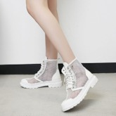 Lace-Up Front Round Toe Mesh Women's Ankle Boots