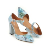 Floral Pointed Toe Chunky Heel Buckle Women's Pumps