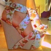 Buckle Open Toe Wedge Heel Floral Sandals