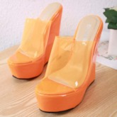 Candy Color Slip-On Wedge Heel Women's Slippers
