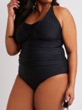 Plus Size Lace-Up One Piece Color Block Sexy Women's Swimwear