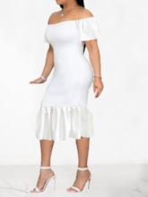 Pleated Short Sleeve Mid-Calf Off Shoulder Women's Bodycon Dress