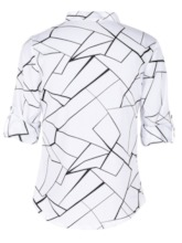 Color Block Stand Collar Standard Women's Blouse