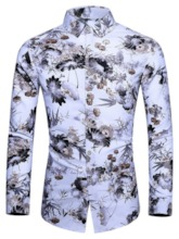 Lapel Button Floral Fashion Fall Men's Shirt