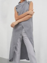 Long Single-Breasted Button Slim Women's Trench Coat